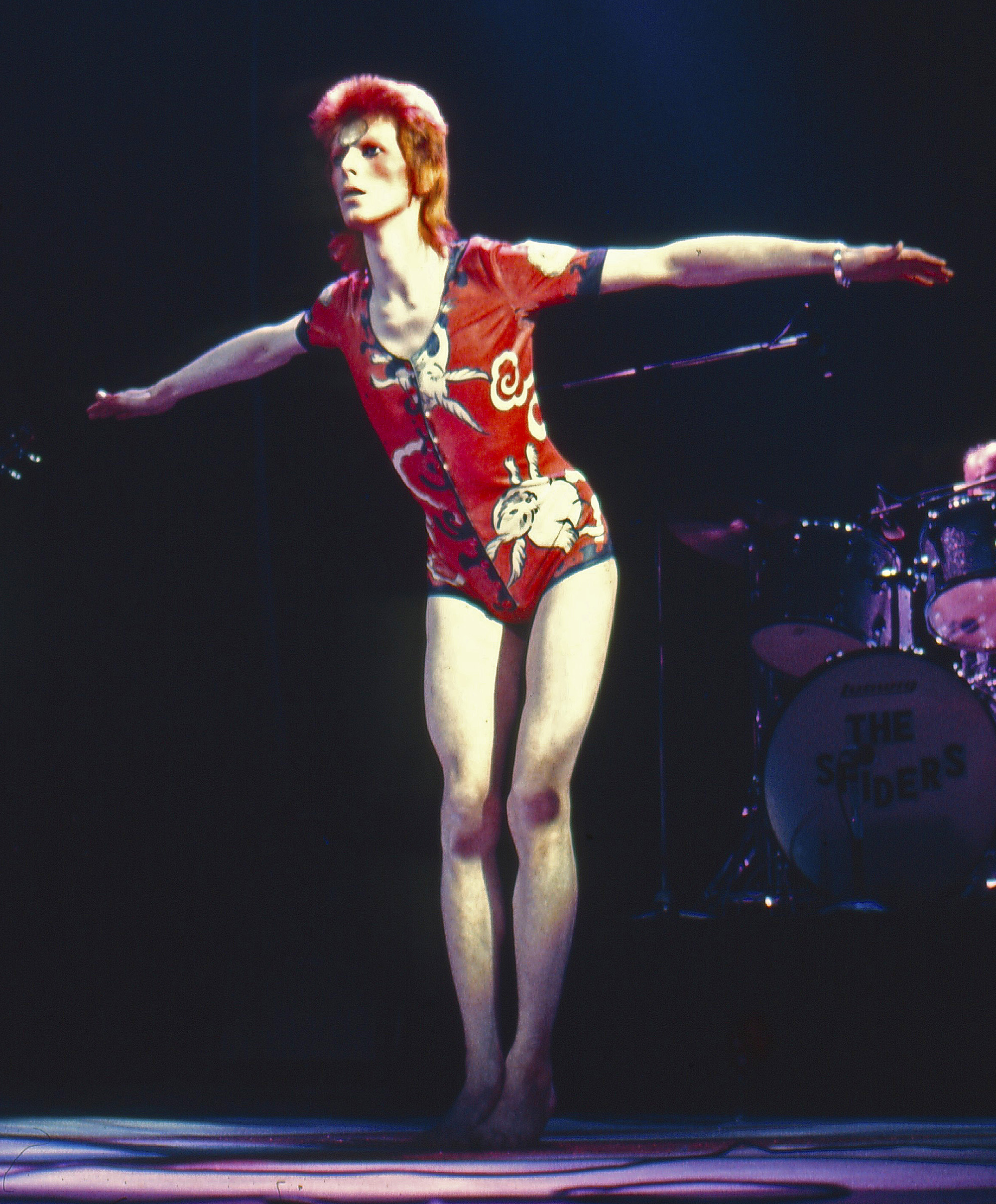 Mandatory Credit: Photo by Ilpo Musto/Rex / Rex USA ( 754280h )  David Bowie in concert at Earl's Court  David Bowie on the Ziggy Stardust World Tour with the Spiders from Mars, London, Britain - 1973