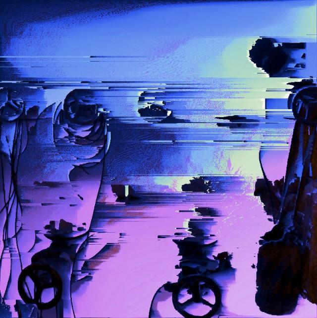pink und blau beleuchteter Industriekultur, bei dem die Pixel ausbrechen